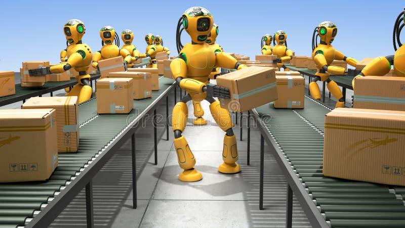 Modern concept het nauwkeurige geautomatiseerde sorteren in productie of del royalty-vrije illustratie
