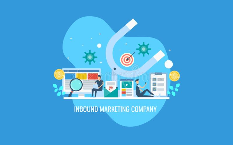 A team of inbound strategist working on digital marketing campaign concept. Flat design vector banner. vector illustration