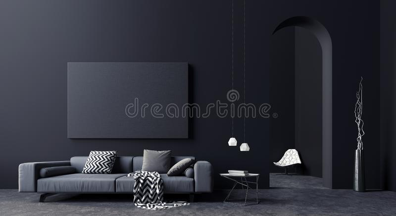 Modern Concept interior design of black and grey living room, 3d Render stock illustration