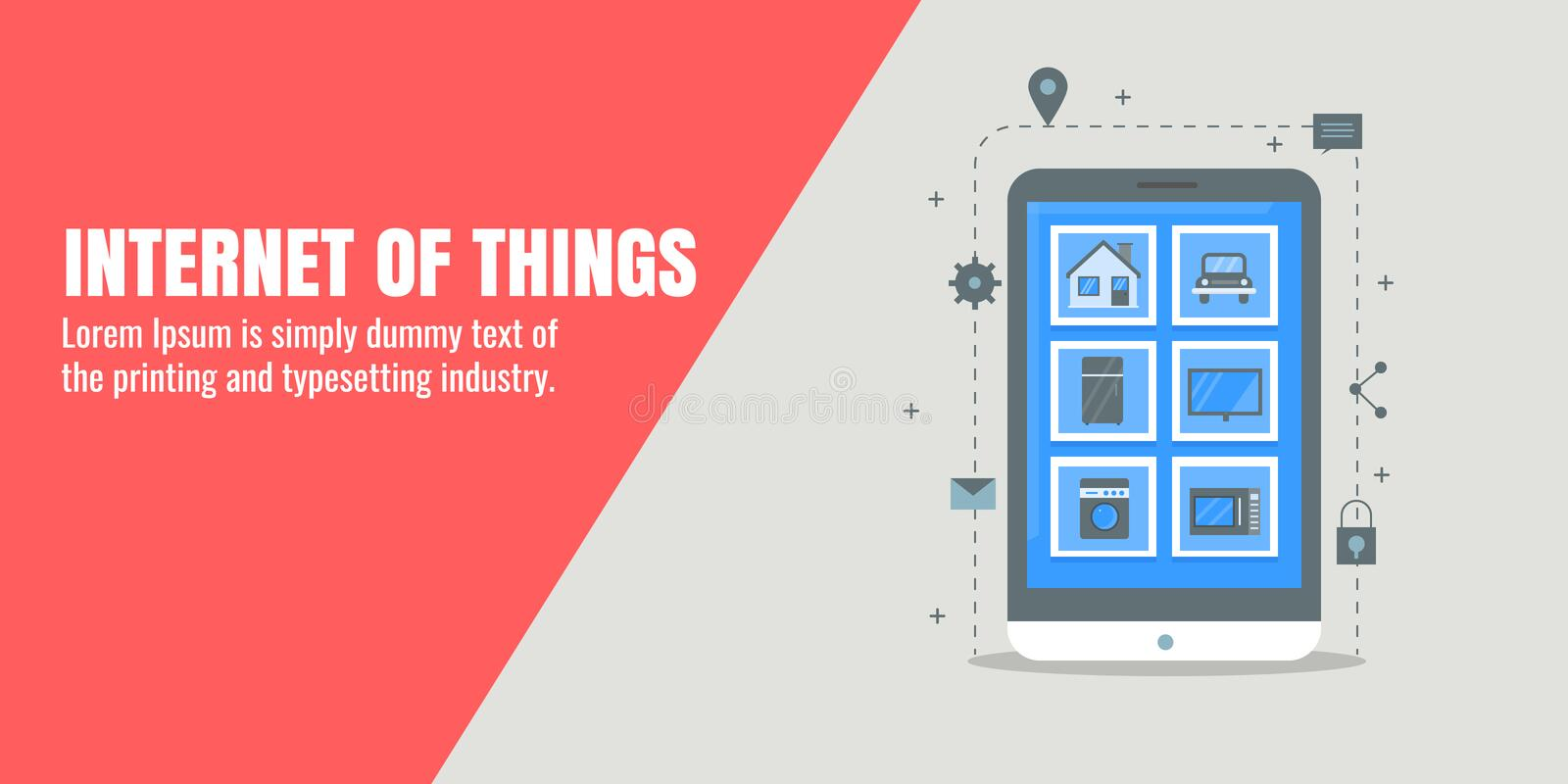 The internet of things, smart devices, automation, user interface system, remote communication concept. Flat design vector banner. stock illustration