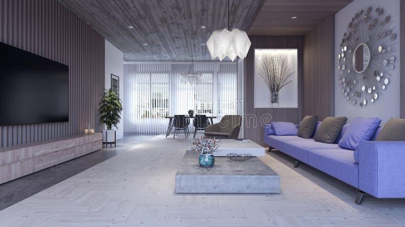 Modern Concept of Living room, interior design 3D Render stock illustration