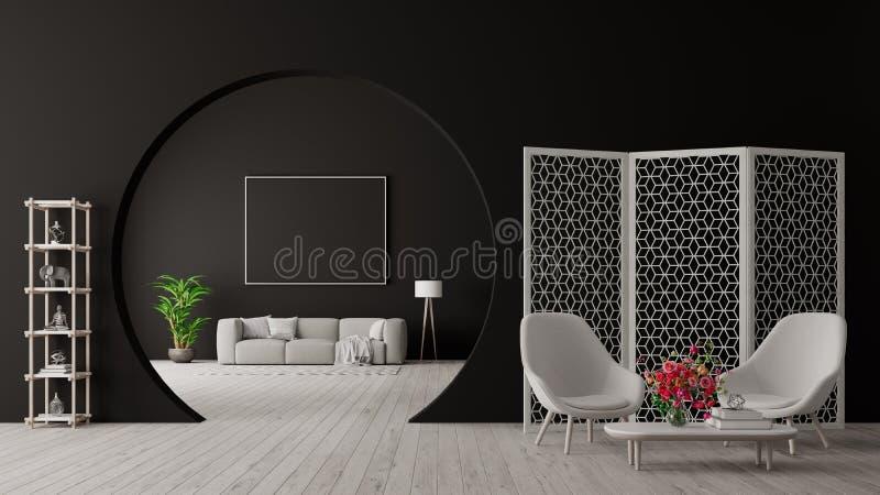 Modern concept of living room interior design 3D Render royalty free illustration