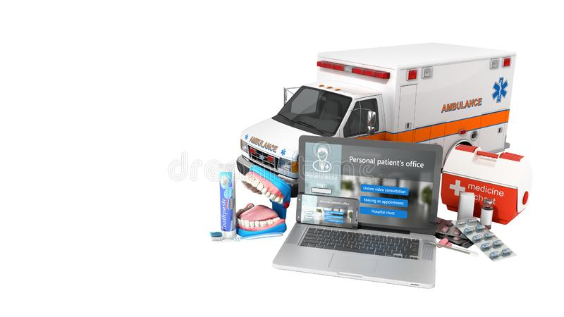 Modern concept of online medical care laptop and telephone with white screen and medical items near them 3d render on white no. Shadow royalty free illustration