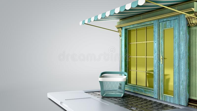 Modern concept of online shoping Old style showcase on laptop screen 3d render on grey gradient vector illustration