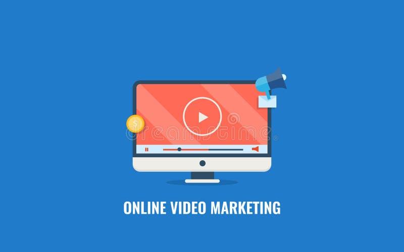 Online video marketing, digital content promotion, audience engagement, social media promotion. Flat design vector banner. Modern concept of online video vector illustration