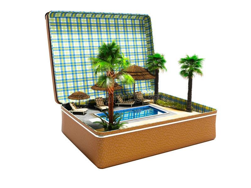 Modern concept ontspanning dichtbij pool met palmen in suitca vector illustratie