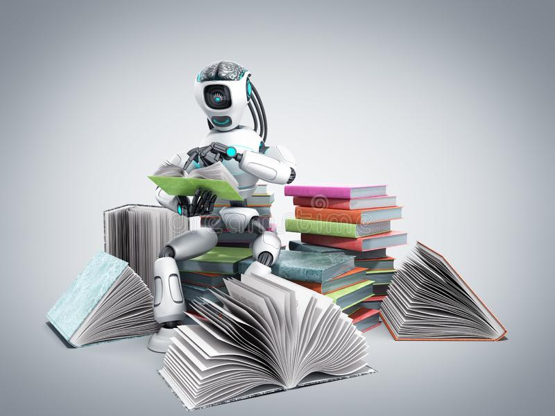 Modern concept of piece intelligence robot is reading books sitting on a pile of books3d render on grey gradient vector illustration