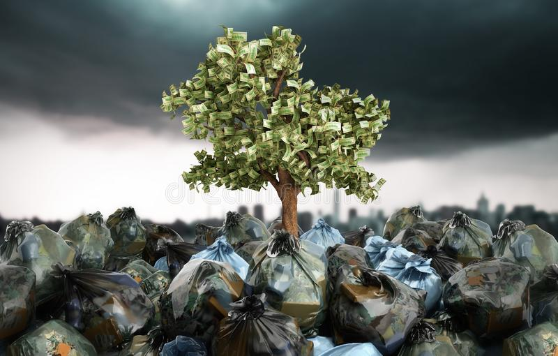 Modern concept of profit from recycling money tree growing out o stock illustration