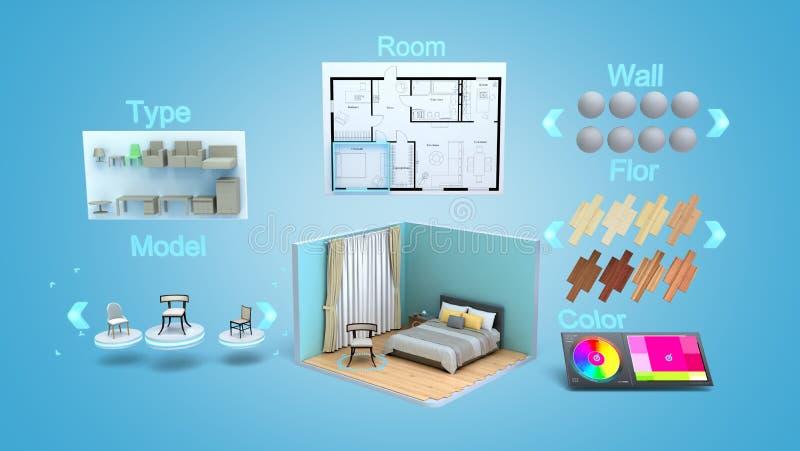 Modern concept for quickly creating interior design room design constructor 3d render on blue gradint vector illustration