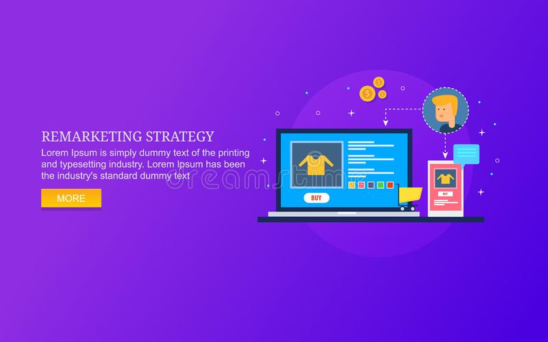 Customer oriented remarketing strategy, advertising on internet, responsive marketing for ecommerce product. Modern concept of remarketing campaign, internet stock illustration