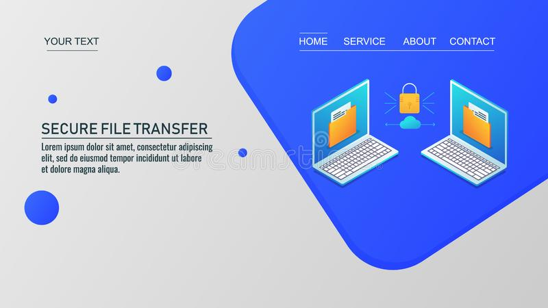 Secure file sharing, cloud data transfer, data protection, file sharing between two computers. Isometric design  concept. vector illustration