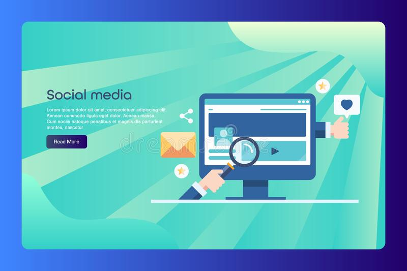 Social media, seo, digital marketing conceptual web banner with text. Modern concept of social media, audience engagement, content sharing, social interaction royalty free illustration
