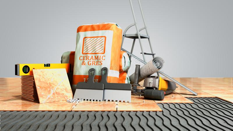 Modern concept of tile laying tools and building materials for laying tiles on an unequal part of the floor 3d render on grey stock illustration
