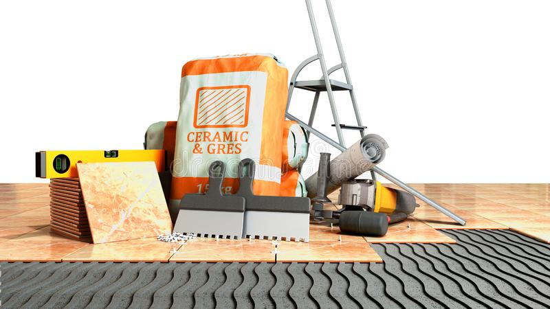 Modern concept of tile laying tools and building materials for laying tiles on an unequal part of the floor 3d render on white vector illustration