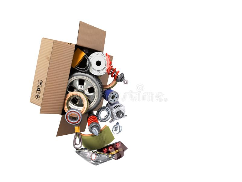Modern concept of vehicle maintenance automotive supplies delivery car parts in open box 3d render on a white no shadow vector illustration