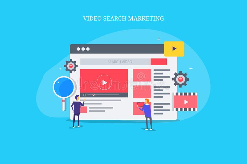 Video search marketing, search marketing analysis team working on video project. Flat design vector banner. vector illustration