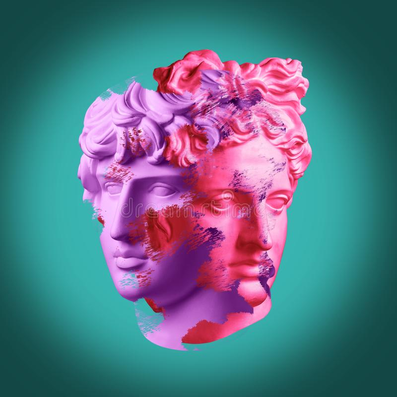 Modern conceptual art poster with ancient statue of bust of Antinous and Apollo. Collage of contemporary art. Modern conceptual art colorful poster with ancient stock image