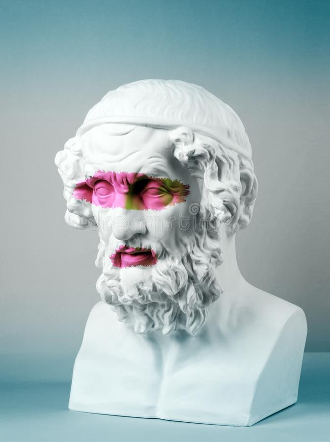 Modern conceptual art poster with ancient statue of bust of Homer. Collage of contemporary art. Modern conceptual art colorful poster with ancient statue of royalty free stock photography