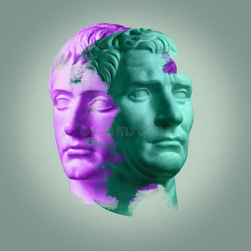 Modern conceptual art poster with ancient statue of bust of Octavian Augustus and Germanicus. Modern conceptual art colorful poster with ancient statue of bust royalty free stock photo