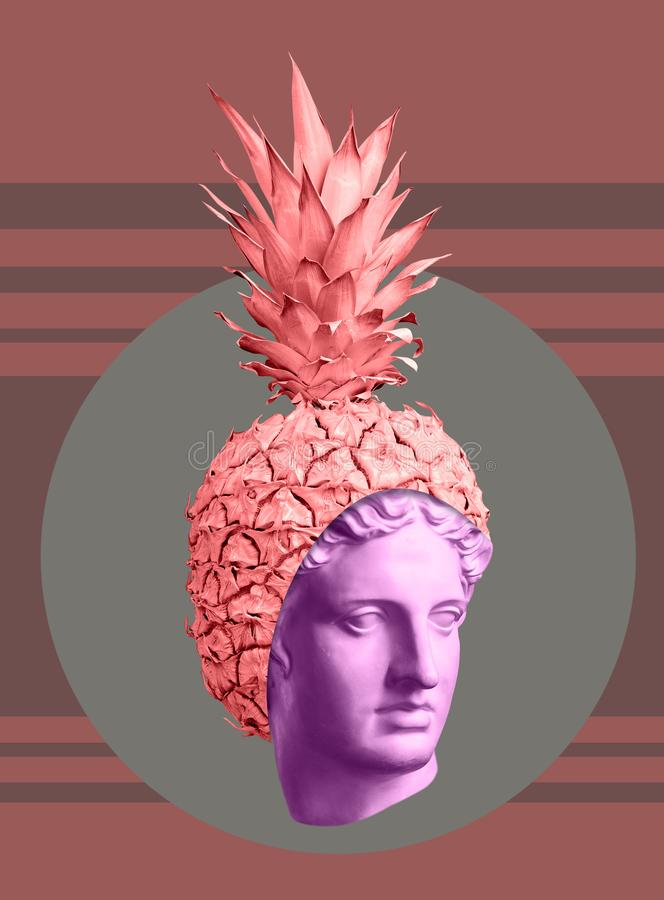 Modern conceptual art poster with ancient statue of bust and pineapple. Collage of contemporary art. Modern conceptual art colorful poster with ancient statue royalty free stock photography