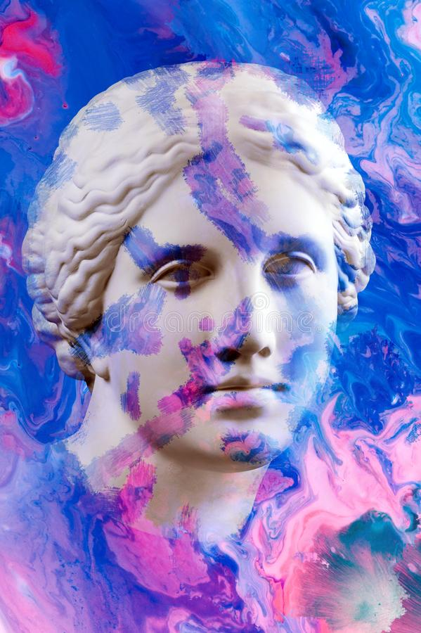 Modern conceptual art poster with ancient statue of bust of Venus. Collage of contemporary art. Modern conceptual art colorful poster with ancient statue of royalty free stock image