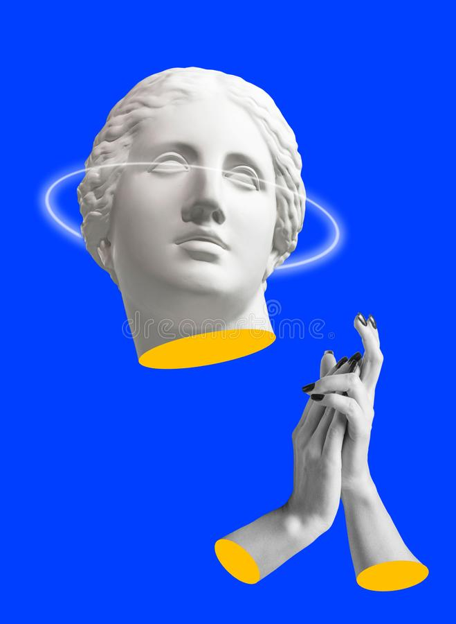 Modern conceptual art poster with ancient statue of bust of Venus. Collage of contemporary art. Modern conceptual art colorful poster with ancient statue of royalty free stock photo