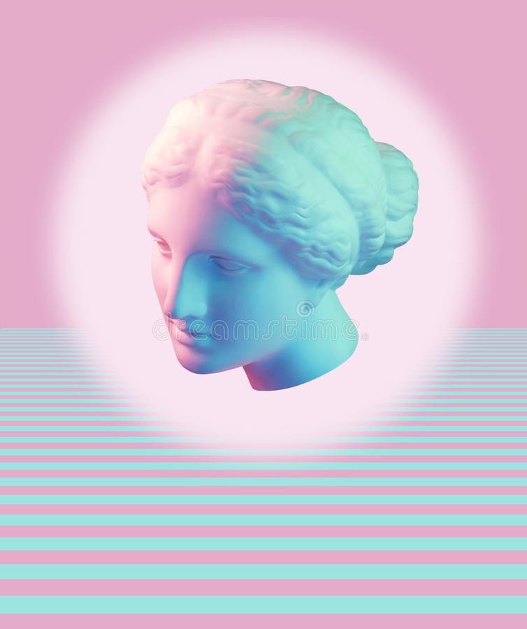 Modern conceptual art poster with ancient statue of bust of Venus. Collage of contemporary art. Modern conceptual art colorful poster with ancient statue of royalty free stock images