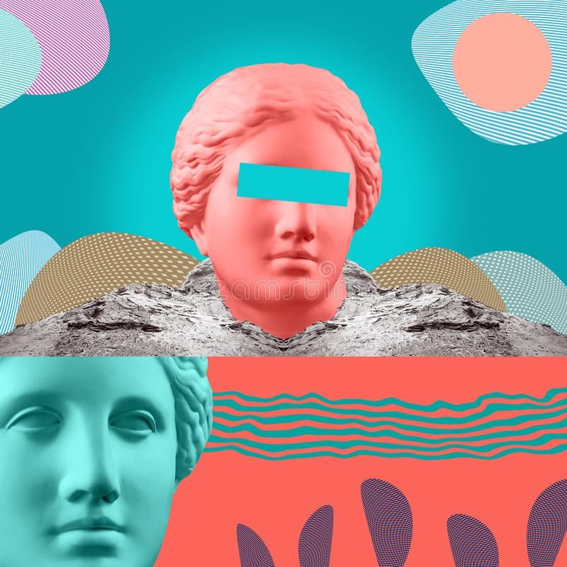 Modern conceptual art poster with ancient statue of bust of Venus. Collage of contemporary art. Modern conceptual art colorful poster with ancient statue of stock photography