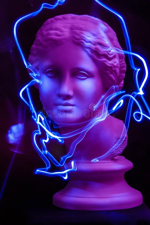 Modern conceptual art poster with ancient statue of bust of Venus. Contemporary art photo. Modern conceptual art colorful poster with ancient statue of bust of stock image