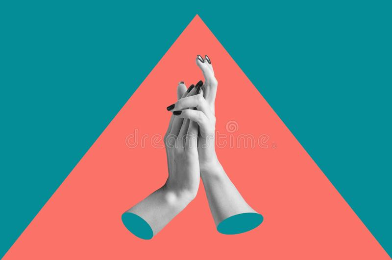 Modern conceptual art poster with a hands in a massurrealism style. Contemporary art collage. stock illustration