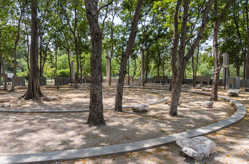 Modern concrete amphitheater under the tree stock photo