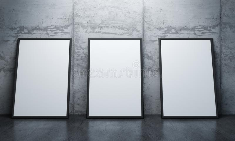 Modern Concrete Gallery Room, Poster Mock Up Stock Illustration ...