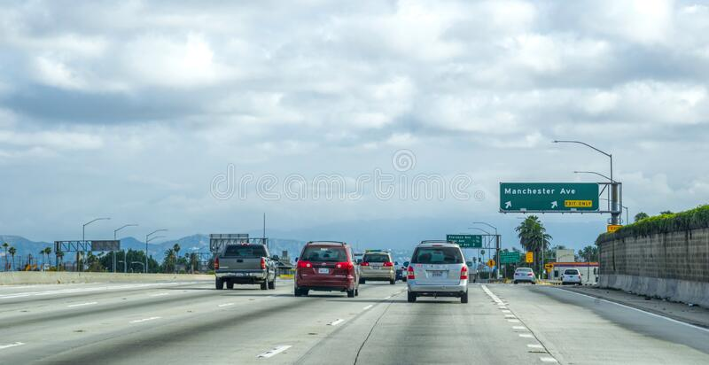 Modern concrete road junction in Los Angeles, USA royalty free stock photos