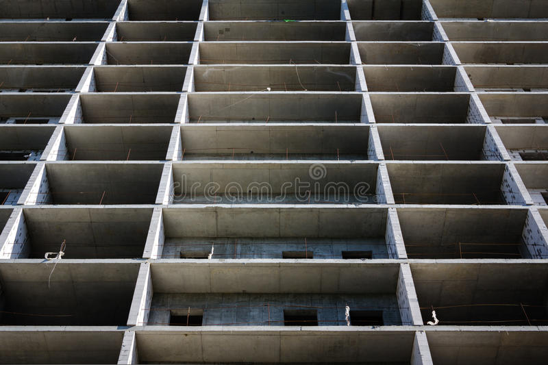 Modern concrete structure, building under. Construction. Streight lines stock image