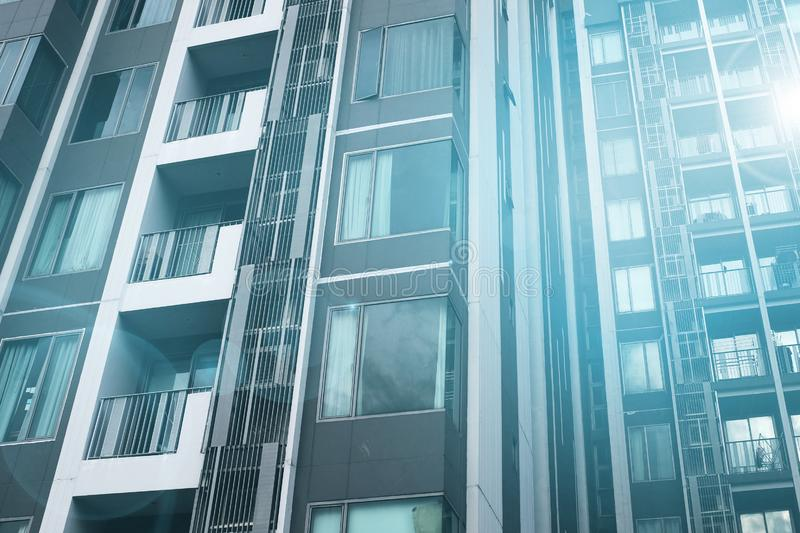 Modern condo buildings. With huge windows in morning.modern life style royalty free stock photography