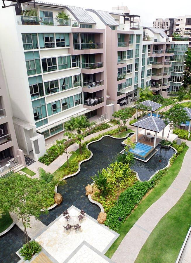 Modern Condominium Exterior Amp Landscaping Stock Image