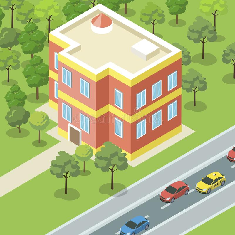 Modern condominium near road banner. Modern condominium near road. City street architecture with small residential house, urban infrastructure with green stock illustration