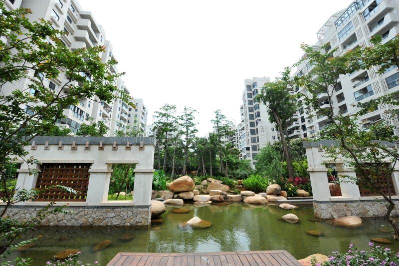 Download Modern condominiums garden stock image. Image of floor - 14865795