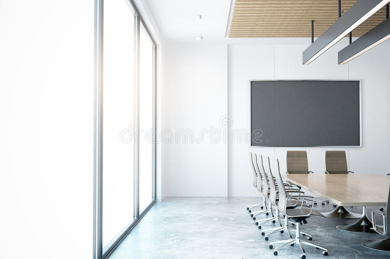 Modern conference room. With empty chalkboard. Mock up, 3D Rendering vector illustration