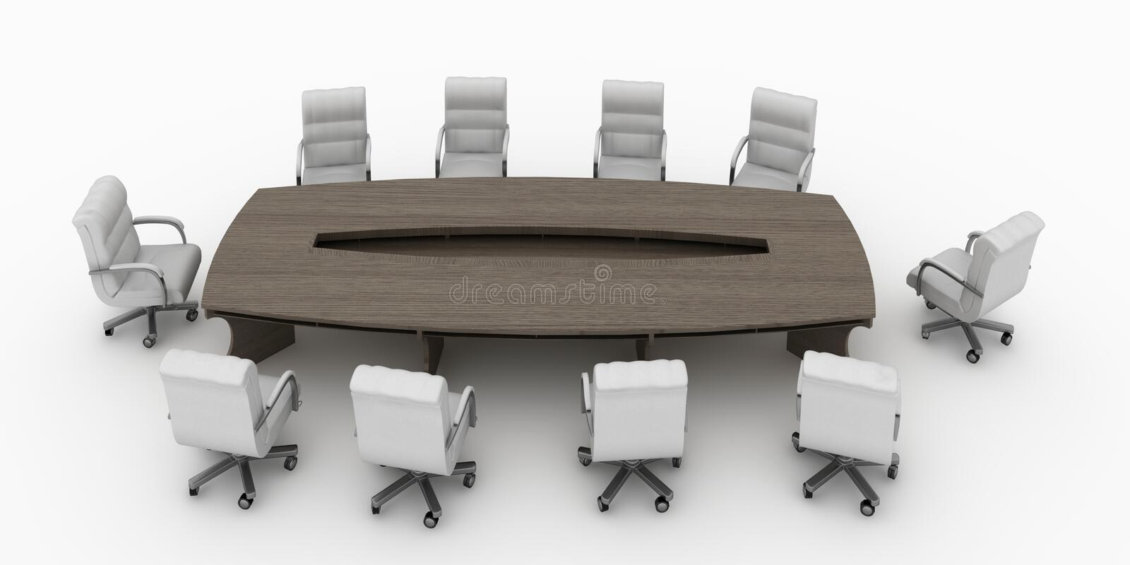 Modern conference table with chairs isolated. 3d render modern conference table with chairs isolated