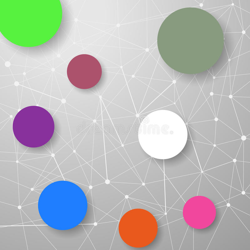 Modern connection modeling background with circles. For infographics and information structuring. Vector illustration vector illustration