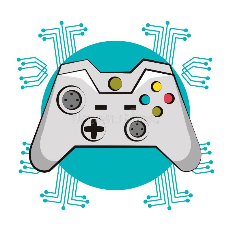 Modern console gamepad techno emblem. Modern console gamepad techno circuit emblem vector illustration graphic design royalty free illustration