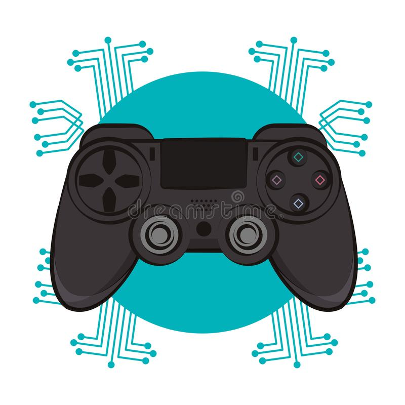 Modern console gamepad techno emblem. Modern console gamepad techno circuit emblem vector illustration graphic design vector illustration