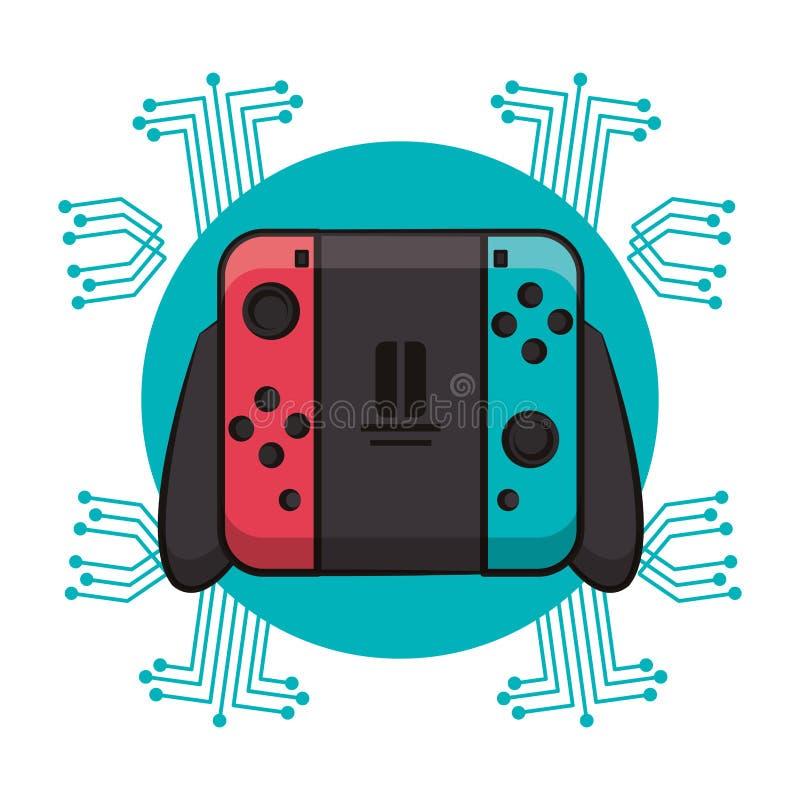 Modern console gamepad techno emblem. Modern console gamepad techno circuit emblem vector illustration graphic design stock illustration
