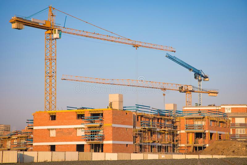 Modern constraction site in working. Fast urban development consept stock images