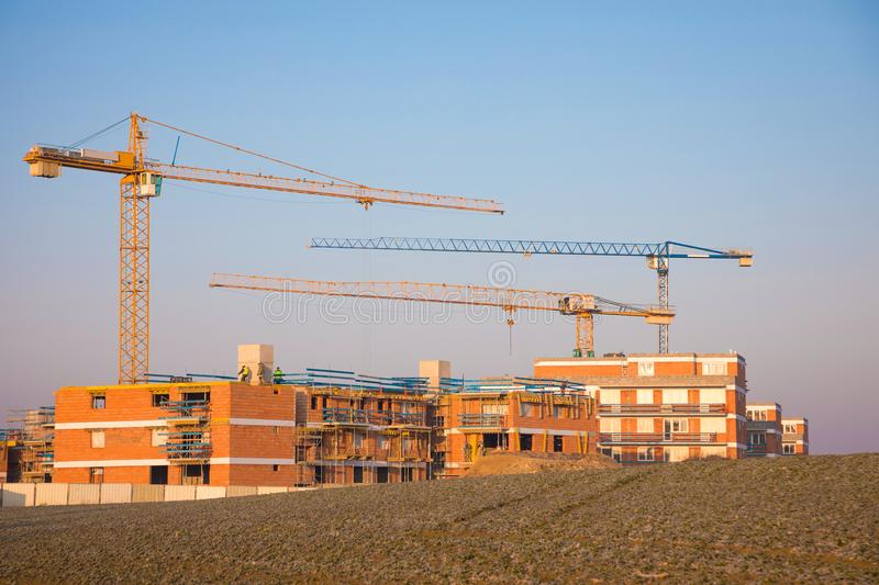 Modern constraction site in working. Fast urban development consept stock image