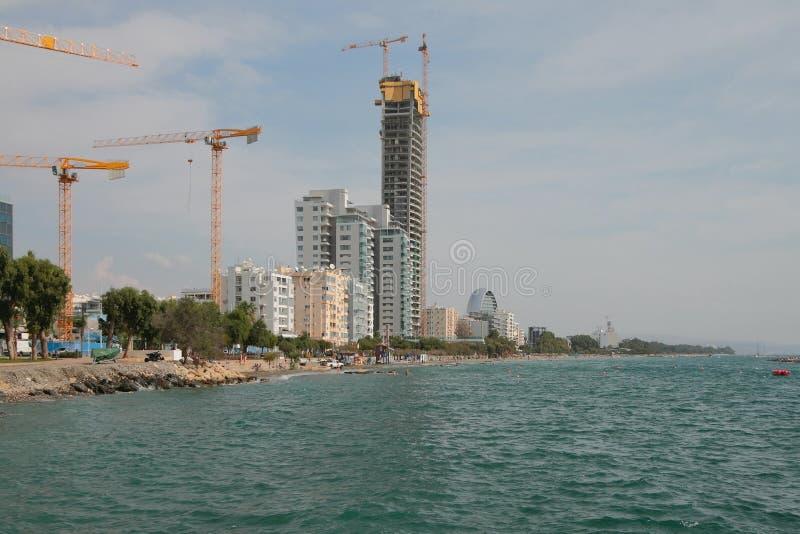 Modern construction on sea coast. Limassol, Cyprus. 2019-10-23 royalty free stock photos