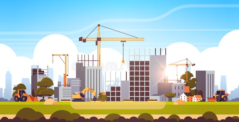 Modern construction site with cranes tractor and bulldozer unfinished building exterior sunset background flat. Horizontal vector illustration stock illustration