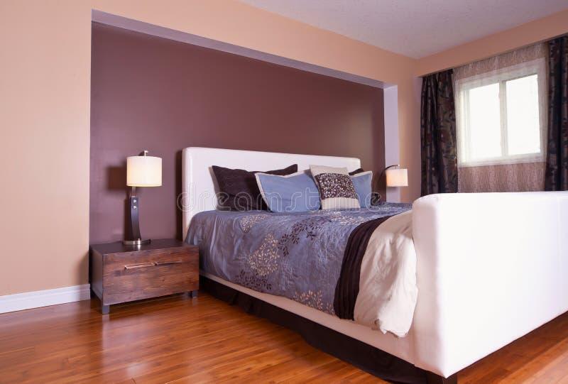 Modern contemporary apartment bedroom interior design after bamboo floors renovation stock photos