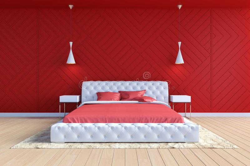 Modern contemporary bedroom interior in red and white color royalty free illustration